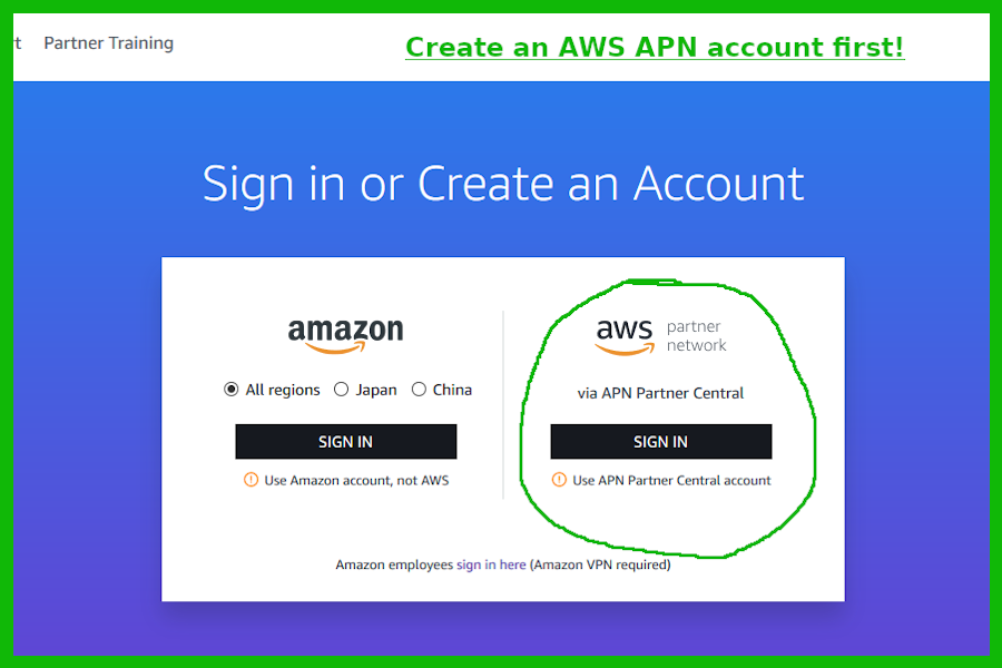 AWS Training Account Sign-up Screenshot